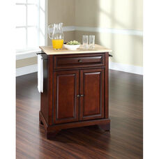 Natural Wood Top Portable Kitchen Island with Lafayette Feet - Maple and Vintage Mahogany Finish