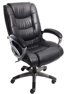 Ultimo 500 Series EZ-Assemble Deluxe High Back Executive Chair- Black Leather with Slate Frame