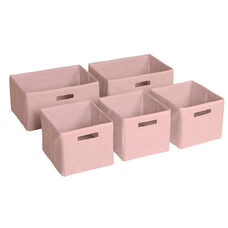 Pink Non-Woven Cloth Bins - Set of 5