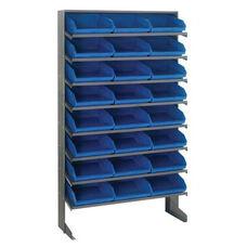 Sloped Shelving Single Sided Pick Rack Unit with 24 Bins - Blue