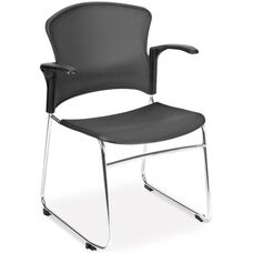 Multi-Use Stack Chair with Plastic Seat and Back with Arms - Gray