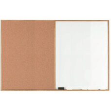 Wood Frame Combination Board with Natural Pebble Grain Cork Bulletin Board and Melamine Marker Board - 48