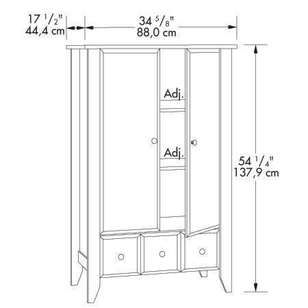 Sauder Shoal Creek 54.25u0027u0027H Armoire With Adjustable Shelves   Jamocha  409934 | Bizchair.com