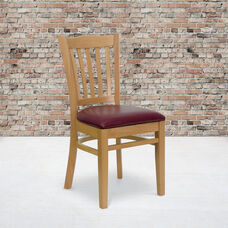 Natural Wood Finished Vertical Slat Back Wooden Restaurant Chair with Burgundy Vinyl Seat