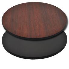 "Advantage 30"" Round Restaurant Table Top - Black / Mahogany Reversible"