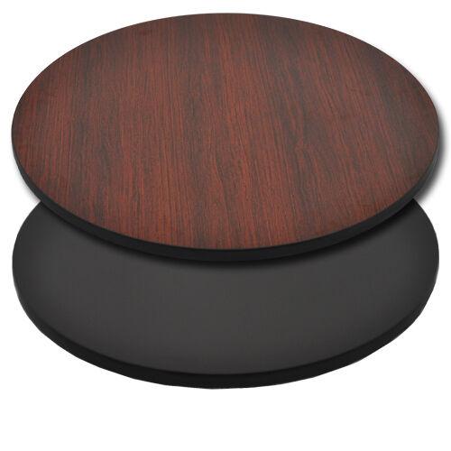 "Advantage 36"" Round Restaurant Table Top - Black / Mahogany Reversible"