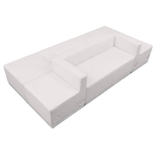HERCULES Alon Series Melrose White LeatherSoft Reception Configuration, 6 Pieces