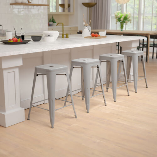 """24"""" High Metal Counter-Height, Indoor Bar Stool in Silver - Stackable Set of 4"""