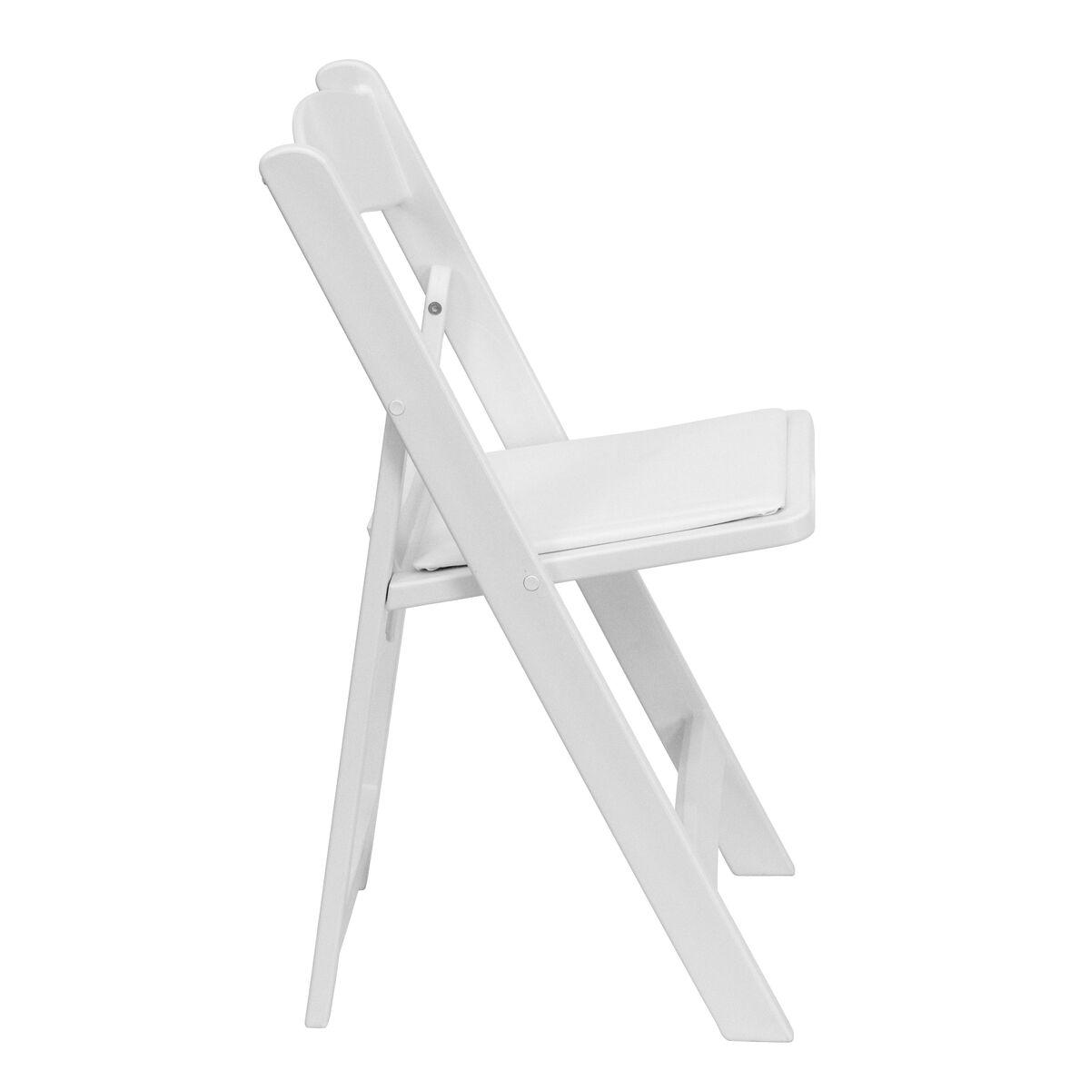 Admirable Hercules Series 1000 Lb Capacity White Resin Folding Chair With White Vinyl Padded Seat Creativecarmelina Interior Chair Design Creativecarmelinacom