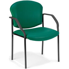 Manor Anti-Microbial and Anti-Bacteria Vinyl Guest and Reception Chair with Arms - Teal Vinyl