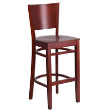 Mahogany Finished Solid Back Wooden Restaurant Barstool
