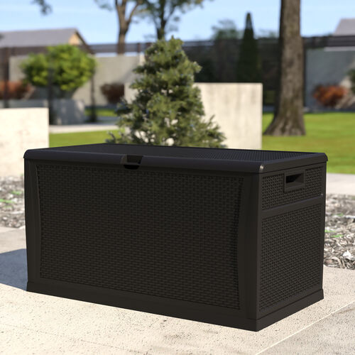 120 Gallon Plastic Deck Box - Outdoor Waterproof Storage Box for Patio Cushions, Garden Tools and Pool Toys, Black