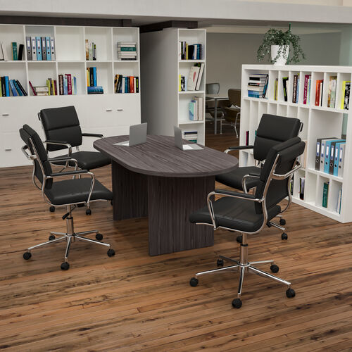 5 Piece Oval Conference Table Set with 4 LeatherSoft Panel Back Executive Chairs