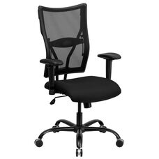 HERCULES Series Big & Tall 400 lb. Rated Black Mesh Executive Swivel Ergonomic Office Chair with Adjustable Arms