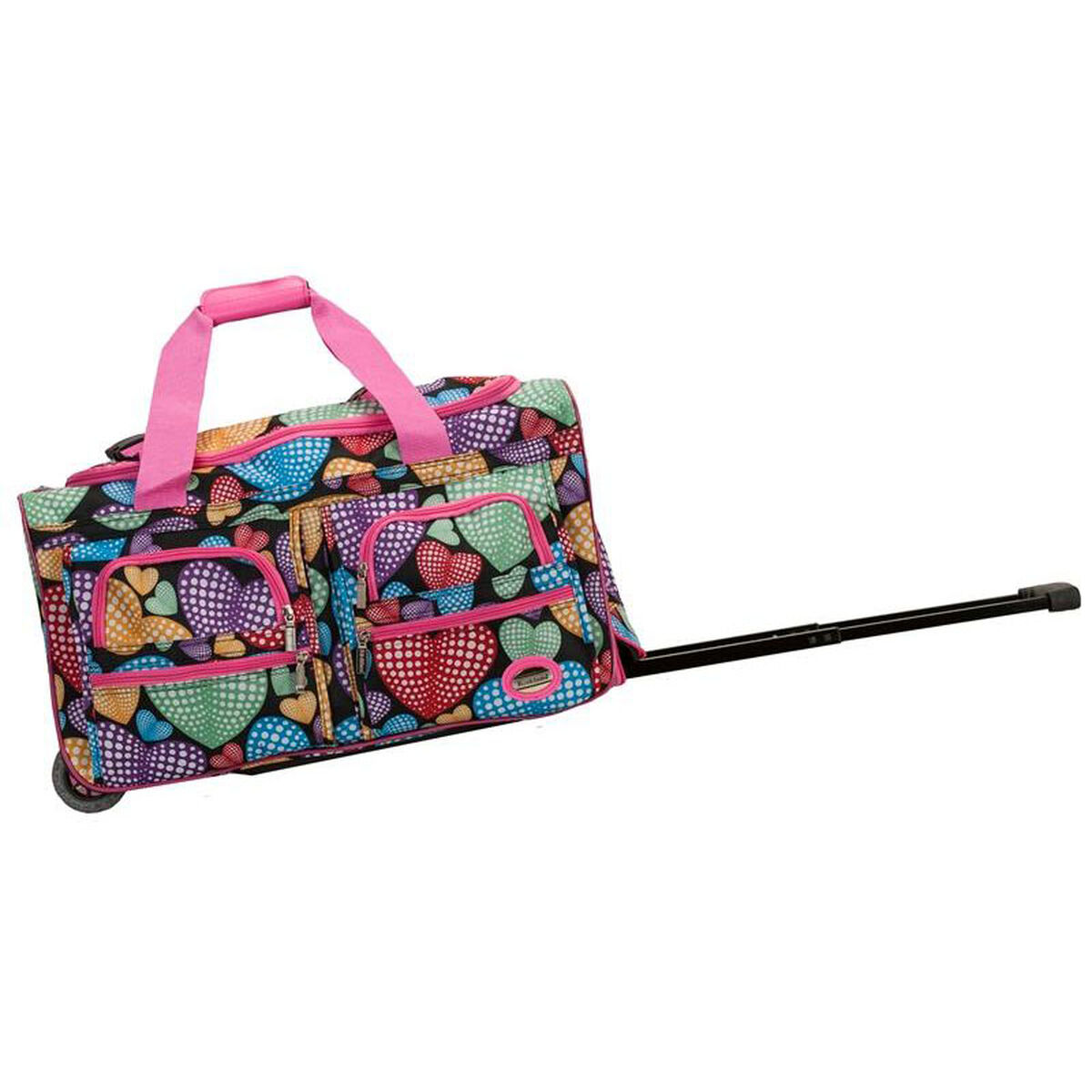 37783f8619 Product PL-38-FOX video  Our Rockland 22   Rolling Duffle Bag - Hearts with  Pink is on sale now