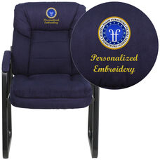 Embroidered Navy Microfiber Executive Side Reception Chair with Sled Base