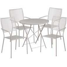 """Commercial Grade 30"""" Round Light Gray Indoor-Outdoor Steel Folding Patio Table Set with 4 Square Back Chairs"""