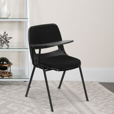 Black Padded Ergonomic Shell Chair with Right Handed Flip-Up Tablet Arm