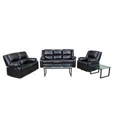 Harmony Series Black LeatherSoft Reclining Sofa Set