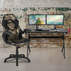 BlackArc Black Gaming Desk and Camouflage/Black Racing Chair Set with Cup Holder, Headphone Hook & 2 Wire Management Holes