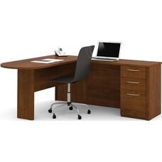 Embassy L-Shaped Workstation Kit with 2 Utility Drawers and 1 Filing Drawer - Tuscany Brown
