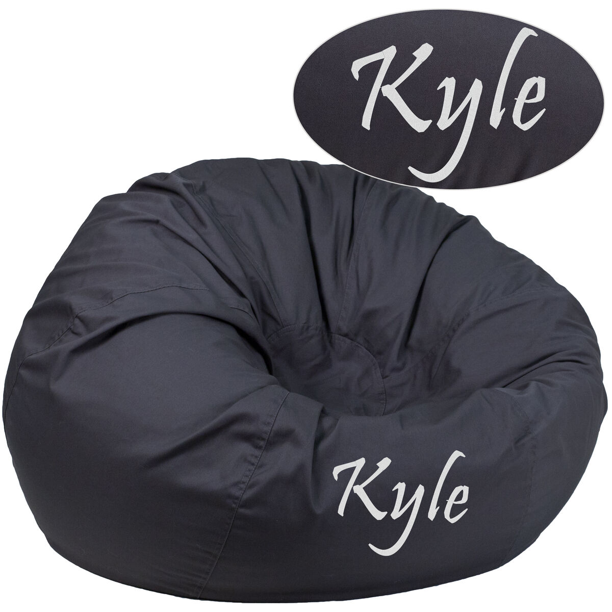 Flash Furniture Personalized Oversized Solid Gray Bean Bag Chair Dg Large Gy Emb Gg Bizchair