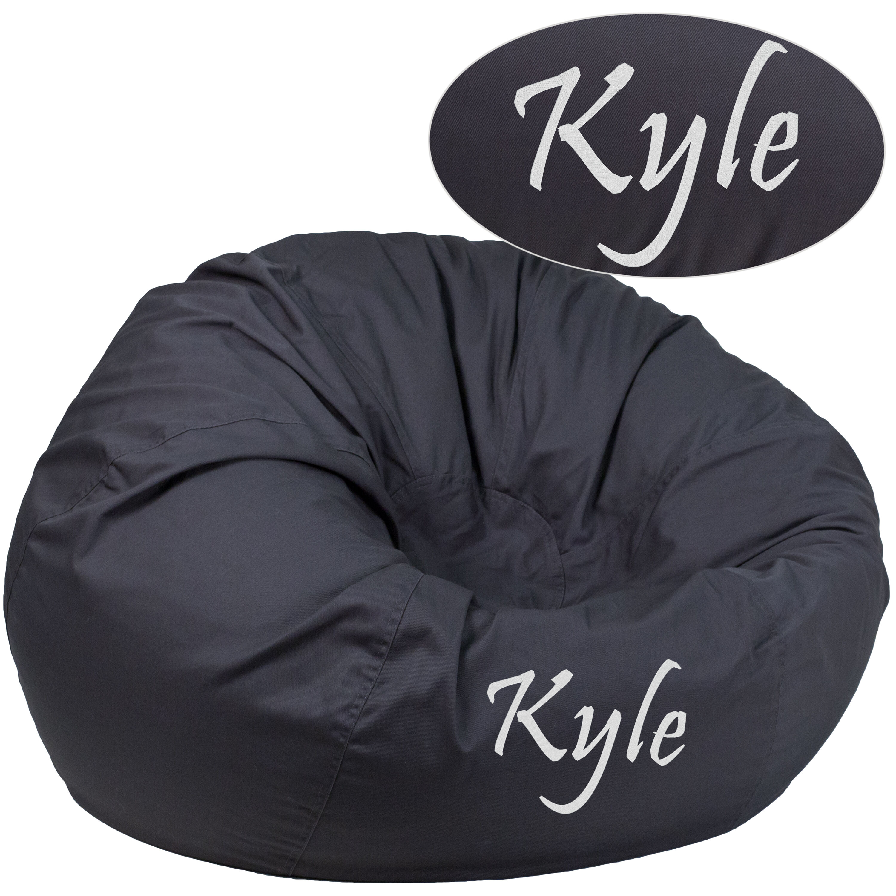 Merveilleux Personalized Oversized Solid Gray Bean Bag Chair