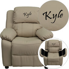 Personalized Deluxe Padded Beige Vinyl Kids Recliner with Storage Arms