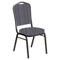 Crown Back Banquet Chair in Sammie Joe Pewter Fabric - Gold Vein Frame