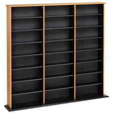 Triple Width Wall Storage with 21 Adjustable Shelves - Oak & Black
