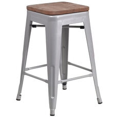 "24"" High Backless Silver Metal Counter Height Stool with Square Wood Seat"