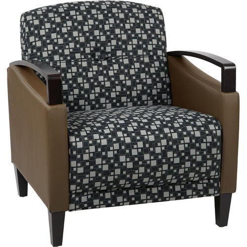 Our Ave Six Main Street 2-Tone Custom Lounge Chair with Espresso Finish Legs - Domino Fabric and Java Vinyl is on sale now.