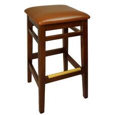 Trevor Mahogany Wood Backless Barstool - Light Brown Vinyl Seat