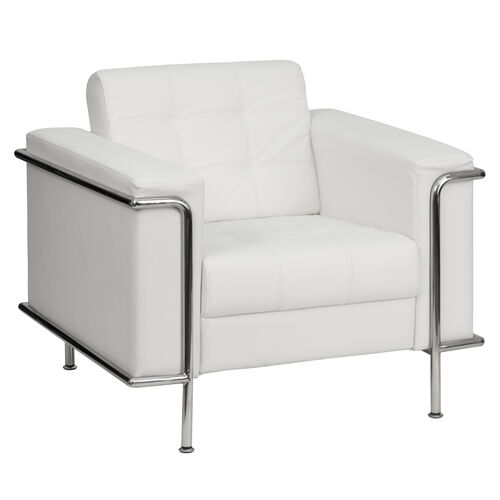 Our HERCULES Lesley Series Contemporary Melrose White Leather Chair with Encasing Frame is on sale now.