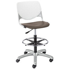 DS2300 KOOL Series Poly Armless Task Stool with White Perforated Back and Brownstone Seat