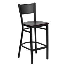 Black Grid Back Metal Restaurant Barstool with Mahogany Wood Seat