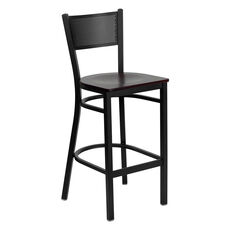 Black Grid Back Metal Restaurant Barstool with Mahogany Wood Seat