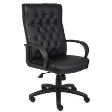High Back Button Tufted Executive Chair - Black