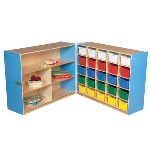 Our Half & Half Blue Storage Shelf Unit with Rolling Casters and Twenty Five Multi-Colored Cubby Trays - 96