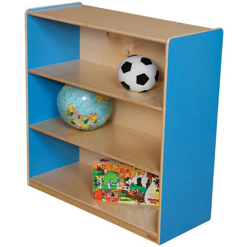 Wooden 3 Fixed Shelf Bookcase with Plywood Back - Blueberry - 36