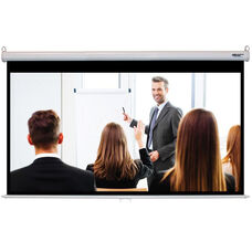 White Wall Mountable Pull-Down Projection Screen with Matte White Fabric Screen and White Aluminum Housing - 87