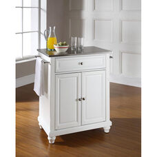 Stainless Steel Top Portable Kitchen Island with Cambridge Feet - White Finish