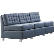 Quick Ship Himalaya Three-Seat Lounge Sofa with Aluminum Legs