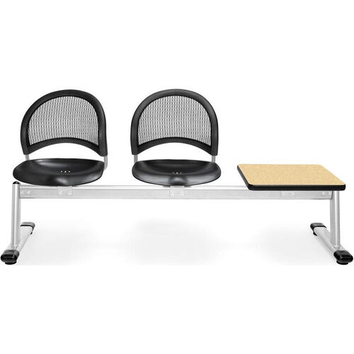 Our Moon 3-Beam Seating with 2 Black Plastic Seats and 1 Table - Oak Finish is on sale now.