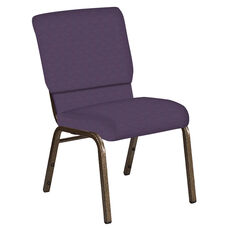Embroidered 18.5''W Church Chair in Illusion Wisteria Fabric - Gold Vein Frame