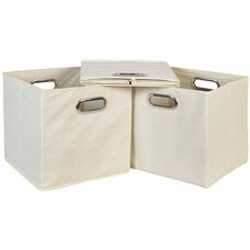 Niche Cubo Foldable Fabric Storage Bins with Handle - Set of 3 - Beige