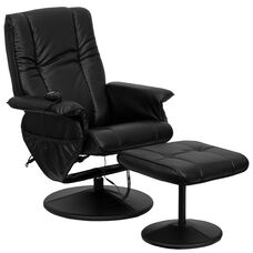 Massaging Multi-Position Recliner and Ottoman with Wrapped Base in Black LeatherSoft