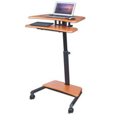 BALT® Up-Rite Mobile Sit-Stand Workstation - 27 1/2w x 22 1/2d x 45 1/2h - Cherry