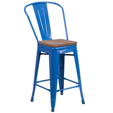 """24"""" High Blue Metal Counter Height Stool with Back and Wood Seat"""
