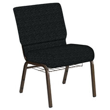 Embroidered 21''W Church Chair in Lancaster Pewter Fabric with Book Rack - Gold Vein Frame